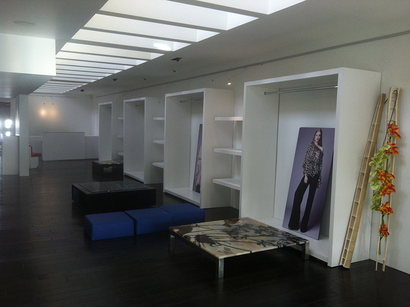 Custom long hang dress displays and hanging shelves